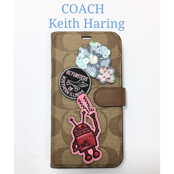 Coach Iphone Xs Keith Haring Flip Wallet Case New Nwt